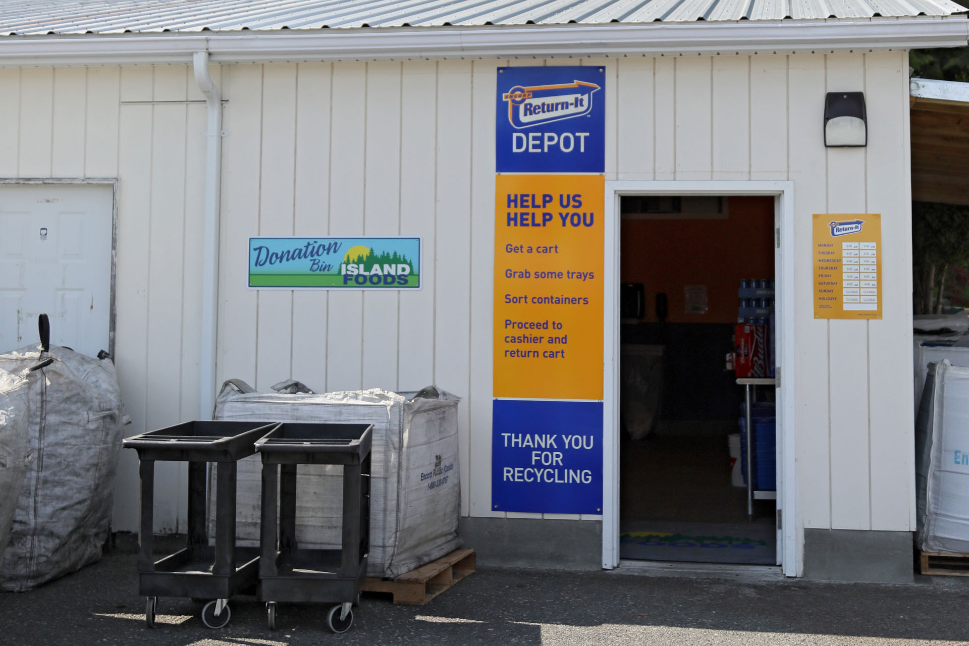 Island Foods Recycling Depot Port McNeill BC